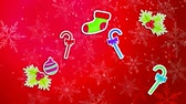 popping : Christmas Ornament Pack Set Red Background Loop Animation - 4K Resolution Ultra HD (UHD)