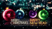 4k : Merry Christmas Happy New Year Colorful Baubles Background Loop Animation - 4K Resolution Ultra HD (UHD)