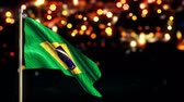 independence : Brazil National Flag City Light Night Bokeh Loop Animation - 4K Resolution Ultra HD UHD Stock Footage