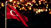independence : Turkey National Flag City Light Night Bokeh Loop Animation - 4K Resolution Ultra HD UHD Stock Footage