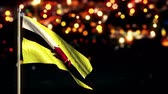 brunei : Brunei National Flag City Light Night Bokeh Loop Animation - 4K Resolution Ultra HD UHD Stock Footage