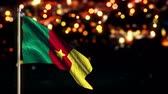 camarões : Cameroon National Flag City Light Night Bokeh Loop Animation - 4K Resolution Ultra HD UHD