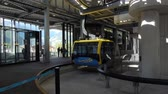 tirol : Mayrhofen, Austria - October, 2018: Inside the cable car lift cabin Mayrhofner Bergbahnen on famous ski resort in Mayrhofen, Austria