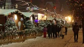 Moscow, Russia - December, 2017: Snowing on christmas market fair in Moscow, Russia Wideo
