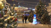 Moscow, Russia - December, 2017: Christmas market fair with carousel in Moscow, Russia Wideo