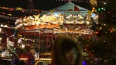 Moscow, Russia - January, 2018: Carousel at the Christmas fair in Moscow city Wideo