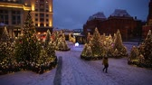 Moscow, Russia - January, 2018: New year trees decorated on Manezh square in Moscow, Russia