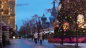 Moscow, Russia - January, 2018: Christmas market fair with St. Basils Cathedral view in Moscow, Russai Wideo