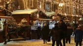Moscow, Russia - January, 2018: People on Christmas market fair in Moscow, Russia Wideo