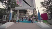 uitdagingen : Tokyo, Japan - August 25,2019: Event for Tokyo Olympic Games in 2020. In the Tokyo Midtown Hibiya of Tokyo stood a huge inflatable structure in the shape of a swimming athlete in action. Passers-by could test sports disciplines to rediscover the incredibl