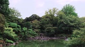 vouw : Pan video of Tokyo Metropolitan Park KyuFurukawas Japanese Gardens Yukimi stone lantern overlooking shinji pond in summer.