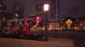 videospiel : Tokyo, Japan - October 06 2019: Video of a huge typography monument where is inscribed RUGBY WORLD CUP 2019 JAPAN in front of the Tokyo Station at night.