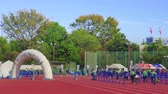 fakkel : tokyo, japan - november 17 2019: Video of an event called Japan Walk in Tokyo 2019 Autumn organised for the 2020 Tokyo Olympic and Paralympic Games where participants including Olympians and Paralympians can walk together and enjoy sports for people wit