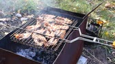 party : Fresh salmon fish on grilling sticks