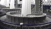 line : Textile industry - spinning machine in a factory Stock Footage