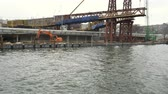эстакада : Moscow, Russian Federation – March 19, 2017: Construction of the bridge on the waterfront
