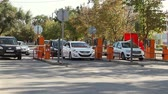 entrada da garagem : Volgograd, Russian Federation - September 27, 2015: Automatic security barrier at the parking Stock Footage