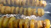 raro : kebabs from potato and lard on the grill