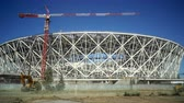 cascalho : VOLGOGRAD, RUSSIA - September 25, 2017: Construction of a framework of new stadium in the city of Volgograd to the FIFA World Cup