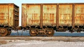 terrível : Old rusty train wagons with stalactites of salt at the lake
