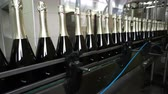 blockage : Sennoy, Russian Federation – February 15, 2018: Bottling and sealing conveyor line at winery factory