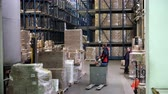 Sennoy, Russian Federation – February 14, 2018: Work of forklifts on loading pallets with cardboard boxes on racks in a modern warehouse Стоковые видеозаписи