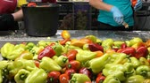 purificado : Sweet bulgarian pepper on the processing line, manual cleaning is used Stock Footage