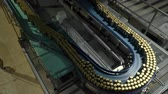 complex system : Modern conveyor for beer bottling machine Stock Footage