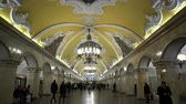 Moscow, Russian Federation - March 17, 2017: The hall of Komsomolskaya subway (Circle Line) in Moscow.