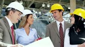 Group of professional engineers and architects in the industrial building. Stok Video