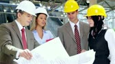 engenharia : Group of professional engineers and architects in the industrial building. Stock Footage