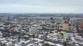 Birds eye view from drone on downtown of Dnipro city at winter. Panoramic 4k video footage from quadcopter. (Dnepr, Dnepropetrovsk, Dnipropetrovsk). Ukraine.