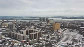 Aerial view of cityscape at winter in Dnipro city. (Dnepr, Dnepropetrovsk, Dnipropetrovsk). Ukraine Стоковые видеозаписи