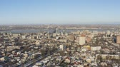 4K Urban aerial view of Dnipro city skyline. Winter cityscape background. (Dnepr, Dnepropetrovsk, Dnipropetrovsk). Ukraine