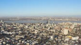 Birds eye view of Dnipro city skyline. Winter cityscape background. (Dnepr, Dnepropetrovsk, Dnipropetrovsk). Ukraine Стоковые видеозаписи