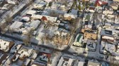 Urban aerial view of Dnipro city rooftops patio. Winter cityscape background in sunny day. (Dnepr, Dnepropetrovsk, Dnipropetrovsk). Ukraine. Стоковые видеозаписи