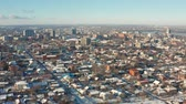 ukraine : Aerial view of winter city landscape in Dnipro city. 4K footage from drone of cityscape with skyline. (Dnepr, Dnepropetrovsk, Dnipropetrovsk). Ukraine.