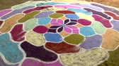 Индия : Colorful Rangoli design created on the floor a folk