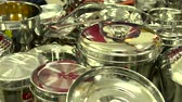 ステンレス : Panning shot on Silver Stainless Steel Dinner Sets 動画素材
