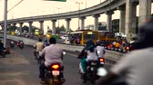 congestion : Traffic on busy city, Chennai city main center heavy traffic crossing a bridge and Busy rush hour street scene at chennai, India. Stock Footage