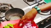 estilo de vida saudável : Onion and Spices are fried in a frying pan. women work at kitchen Stock Footage