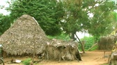 Rural village thatched house exterior shot Stok Video