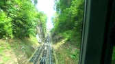 time lapse of cable car moving up to Penang Hill at Penang state island, Malaysia