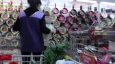 basket in a supermarket time lapse Stock Footage