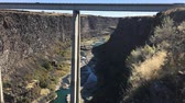 snake river canyon : Hansen Bridge higway 50 Idaho Stock Footage