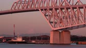freighter : Tokyo Gate Bridge and Mt. Fuji in the Morning (IN Time LapseZoom)