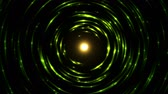 emitting : Colorful Circular Particle Emitting Sphere Animation - Seamless Loop Yellow Green Stock Footage
