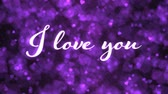 Pulsing animated I love you text and Background Animation - Loop Purple