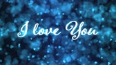 Pulsing animated I love you text and Background Animation - Loop Blue Stock Footage