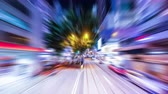 bright night lights : Time lapse moving through modern night city street with skyscrapers. Hong Kong. Abstract cityscape traffic background with motion blur Stock Footage